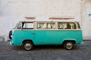 VW camper parked on street