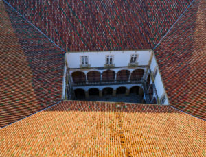 rooftops, from above, courtyard, University of Coimbra, Portugal