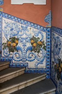 hand painted tiles, steps, house, Coimbra, Portugal