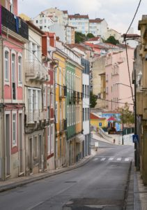 multicoloured buildings, hillside, Coimbra, Portugal