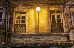 decorative building, downtown, Coimbra, Portugal