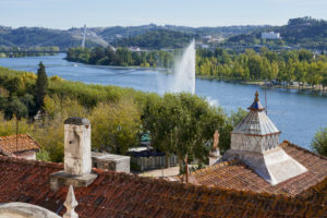 tiled rooftop, house, water-jet, Mondego River, Coimbra, Portugal