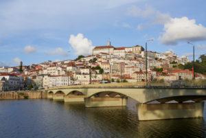 Coimbra cityscape, S. Clara Bridge, River Montego, Portugal
