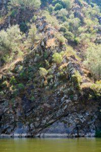 rockface, clear water, Mondego River between Penacova & Torres, Portugal