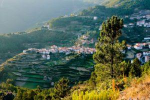 charming village, terraces, evening sun, Serra da Estrela, Portugal