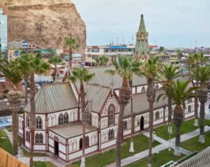 San Marcos Cathedral built by Gustave Eiffel in Paris and erected 1876 in Arica, Chile
