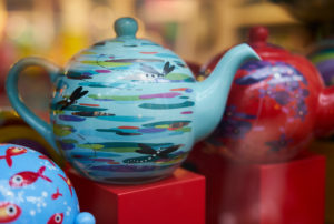 brightly painted teapots, modern, London, UK