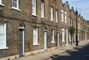 terraced, brick, Victorian houses, London, UK