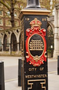 painted cartouche, portcullis, lamp post, City of Westminster, London, UK