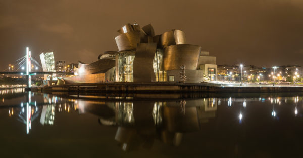 Panorama, Spain, Bilbao, Guggenheim Museum, Rio Nervion, night shot