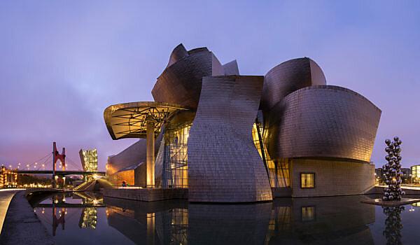Panorama, Spanien, Bilbao, Guggenheim-Museum, Architektur, blaue Stunde