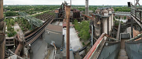 Duisburg, Landschaftspark Nord, former steelworks, panoramic distant view of blast furnace 5