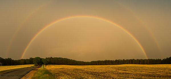 Mecklenburg, Landstraße, kompletter Regenbogen, Nebenregenbogen, Panorama