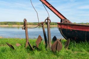 Brandenburg, Oder, old Oder barge, toll bridge