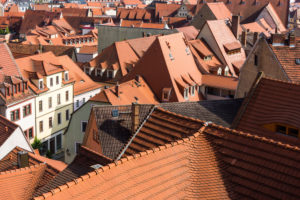 Elbe Cycletour, Saxony, Meissen, view from Cathedral Square, roof landscape