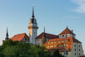 Elbe-Radweg, Sachsen, Torgau, Schloss Hartenfels im Abendlicht