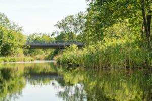 Biosphere reserve Schorfheide-Chorin, Oberucker lake, Ucker canal, bridge