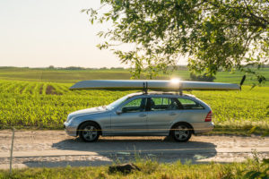 Biosphere reserve Schorfheide-Chorin, Oberucker lake, car with kayak, transport
