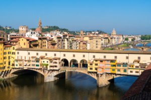 Florence, view from the Uffizi to Ponte Vecchio