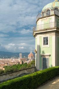 Florence, Giardino di Boboli, cafe, old town in the background