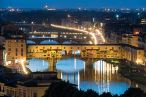 Florence, Ponte Vecchio at dusk, streetlights