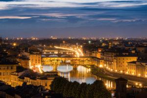 Florence, Ponte Vecchio at dusk, streetlights