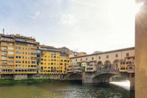 Florence, Ponte Vecchio, sunbeams