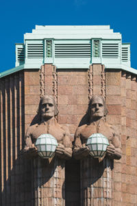 Helsinki, Finland, Central Station, Art Nouveau and Neoclassicism, statues by Emil Wikström