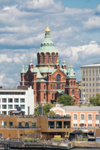 Helsinki, Uspensky Cathedral, Russian Orthodox Church, view from the harbor