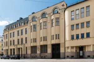 Helsinki, Old Town, Art Nouveau, corner house Kasarmikatu, Robertinkatu