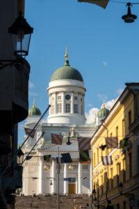 Helsinki, Altstadt, Blick vom Marktviertel zum Dom
