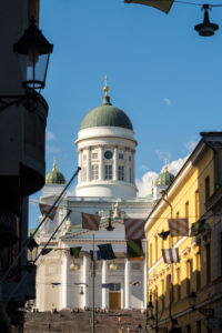 Helsinki, old town, view from Marktviertel to the cathedral