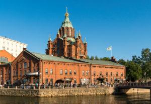 Helsinki, Katajanokka magazines, waterfront Kanavaranta, in the background Uspensky Cathedral