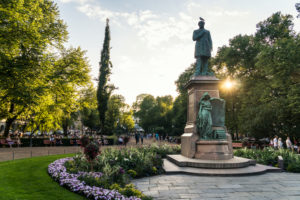 Helsinki, Esplanadi Park, summer, evening mood, memorial Johan Ludvig Runeberg
