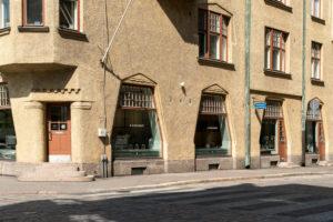 Helsinki, Old Town, Art Nouveau, corner house Pohjoinen Makasiinikatu, Fabianinkatu