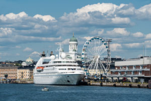 Helsinki, Old Town view from the harbor, cathedral, cruise ship and ferris wheel