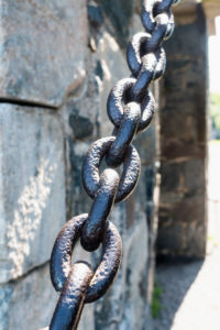 Helsinki, island Suomenlinna, royal gate, Kunikaanportti, drawbridge, chain, detail