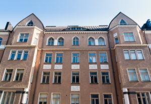 Helsinki, Jugendstilarchitektur im Stadtteil Eira, Pietarinkatu 14, Fassade