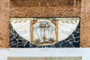 Helsinki, Art Nouveau architecture in Eira district, Juvilakatu, detail, owl