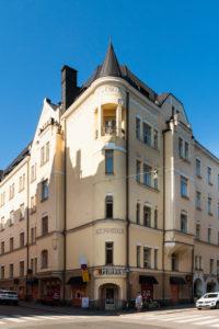 Helsinki, Jugendstilarchitektur im Stadtteil Eira, Pietarinkatu/Neitsytpolku, Haus Suvantola