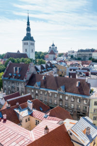 Estonia, Tallinn, view from the city hall tower towards Domberg, Alexander Nevsky Cathedral, Nikolaikirche