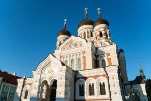 Estonia, Tallinn, Domberg, Alexander Nevsky Cathedral in the evening light