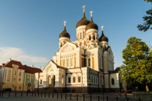 Estland, Tallinn, Domberg, Alexander-Newski-Kathedrale im Abendlicht