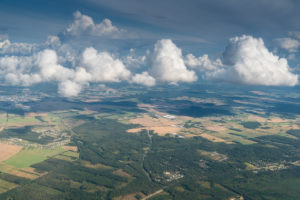 Estonia, flight, aerial photograph, forest and fields, clouds, Cumulus congestus