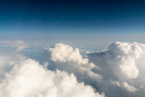 flight, aerial view, Cumulus incus and Cumulonimbus calvus, thunderclouds, moon