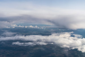Flight, aerial view, Cumulus incus and Cumulonimbus calvus, thunderclouds