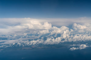 flight, aerial photo, Baltic Sea coast, Cumulus incus, Altocumulus floccus