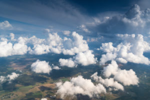Estonia, flight, aerial photography, forest and fields, clouds, Cumulus congestus