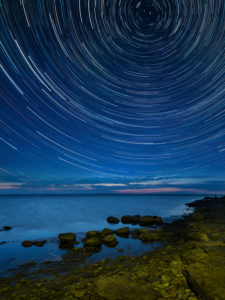 Estonia, Baltic Sea coast, Saaremaa, night, start trails