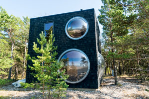 Estonia, Baltic Sea island Hiiumaa, holiday home on the north coast, round windows
